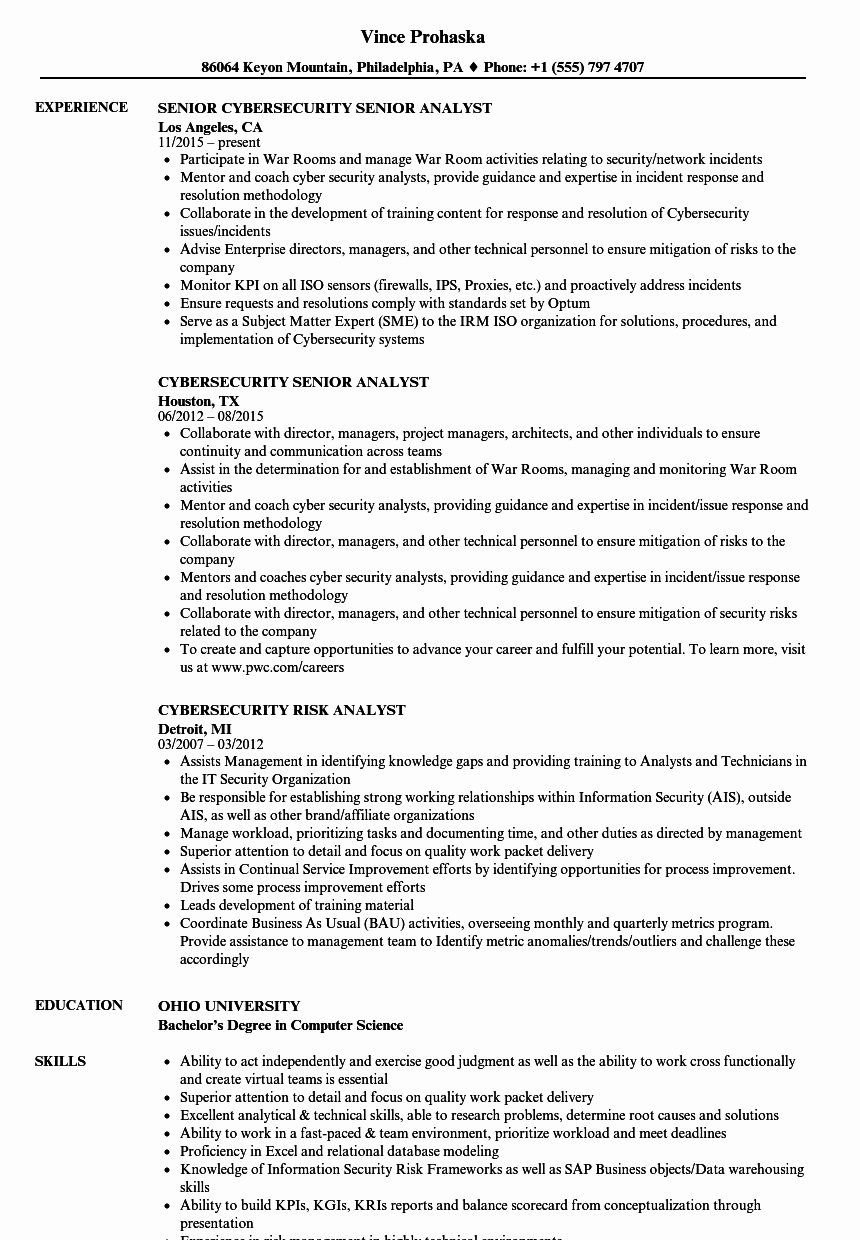 Analyst' Cybersecurity Resume Samples