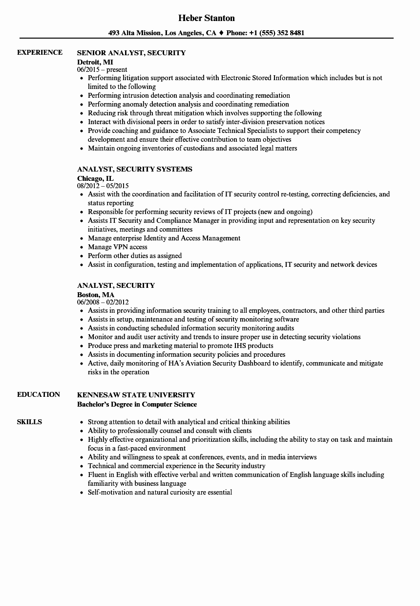 Analyst Security Resume Samples