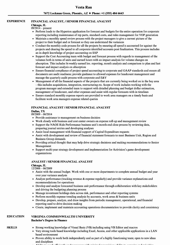Analyst Senior Financial Analyst Resume Samples