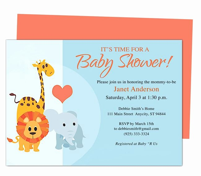 Animals Cute Printable Diy Baby Shower Invite Templates