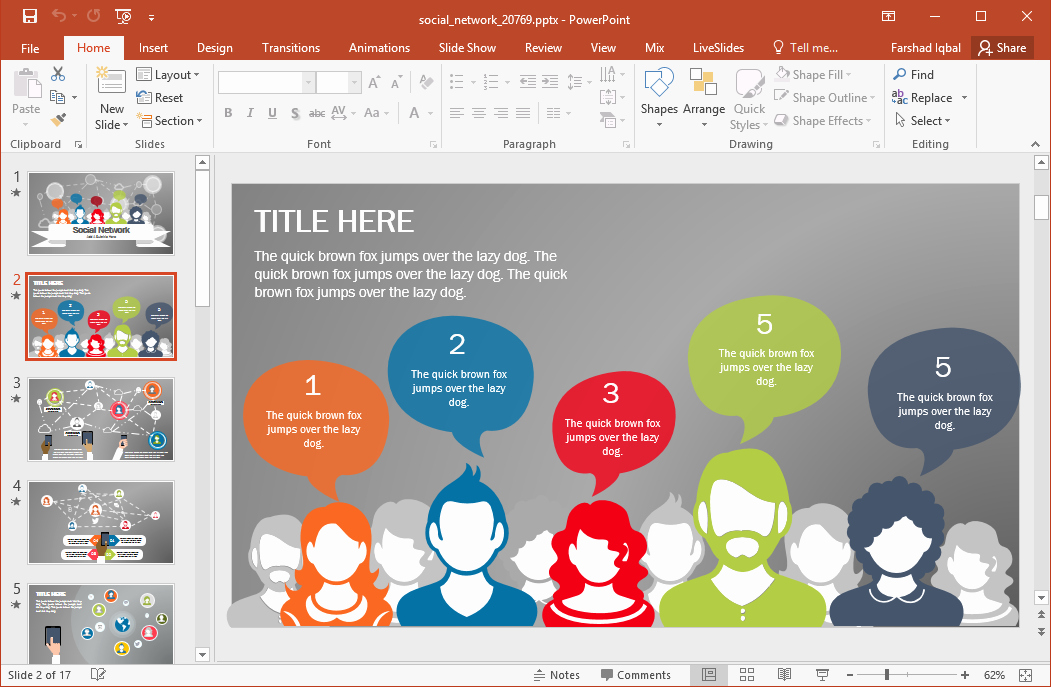 Animated social Network Powerpoint Template