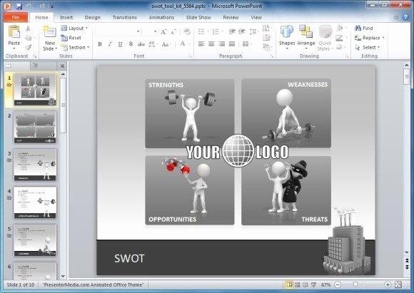 Animierte Swot Analyse Powerpoint Vorlage