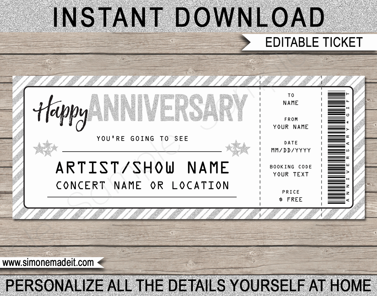 Anniversary Concert Gift Ticket Template