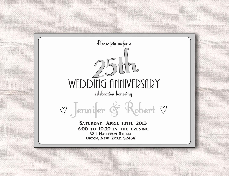 Anniversary Invitations Surprise 25th Wedding