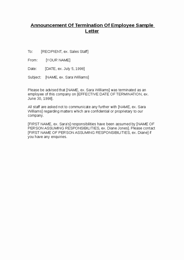 announcement letter sample for employee termination notice