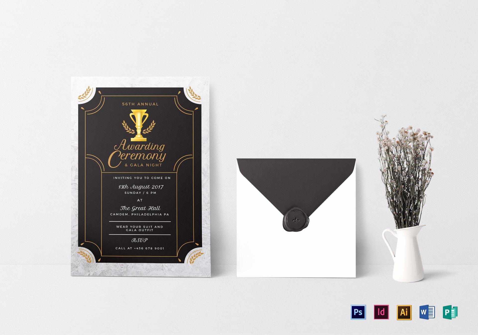 Annual Award Ceremony Invitation Design Template In Psd
