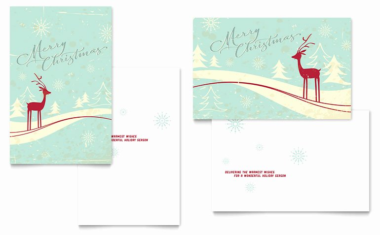 Antique Deer Greeting Card Template Word & Publisher