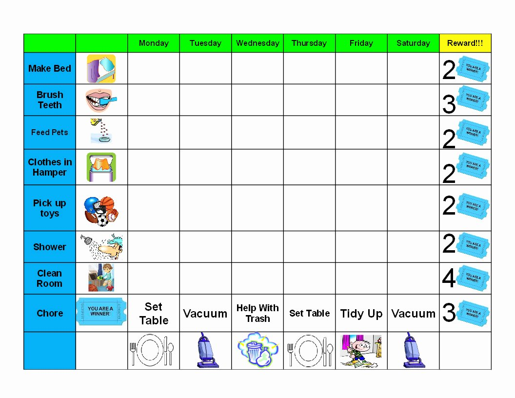 Antjie Rooibruin Hen Kids Good Behaviour Chore Chart