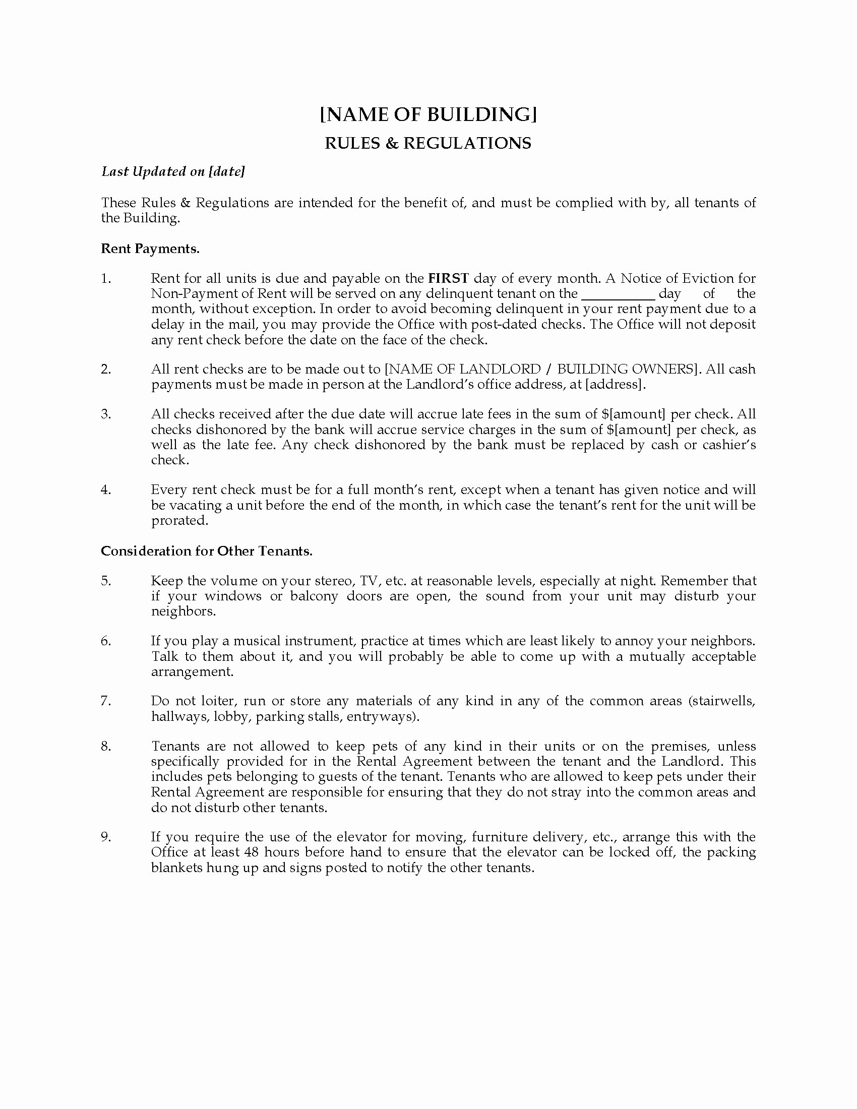 Apartment Building Rules and Regulations