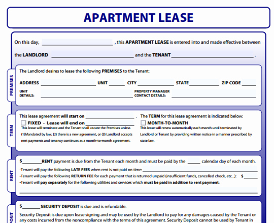 Apartment Lease Agreement Word Templates Excel About