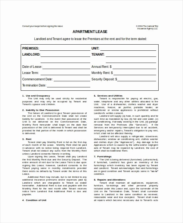 Apartment Lease Template 7 Free Word Pdf Documents
