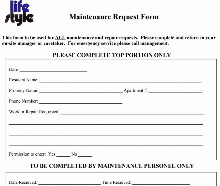 Apartment Maintenance Request form Template Latest