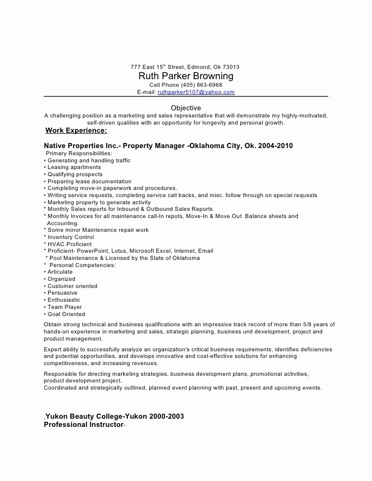 Apartment Property Manager Resume Resume Ideas