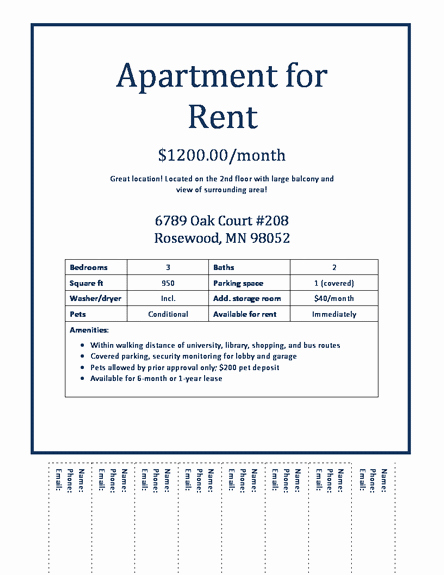 Apartment Rental Flyer Template Download Apartments for