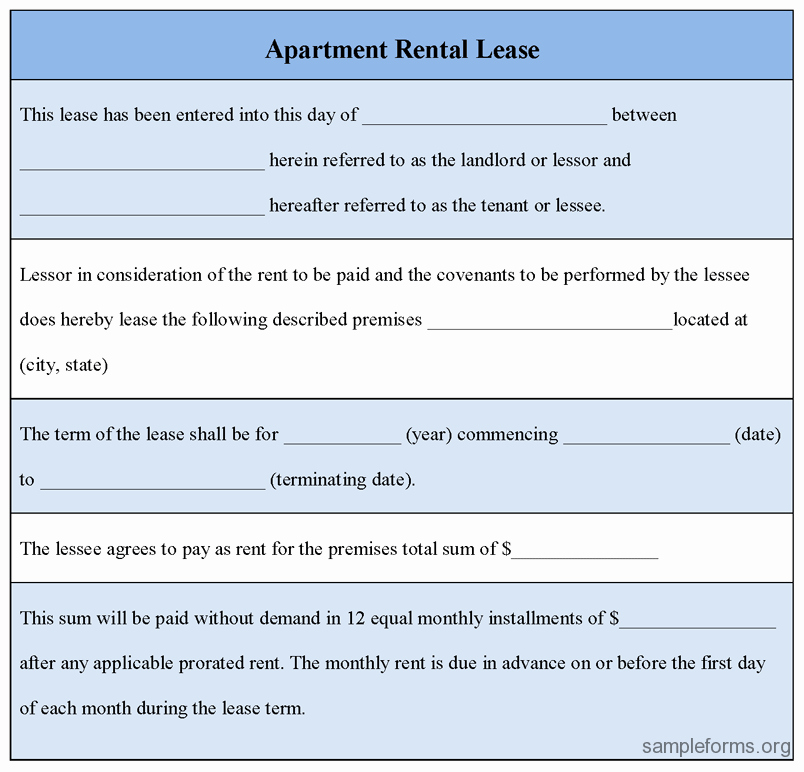 Apartment Rental Lease form Sample forms