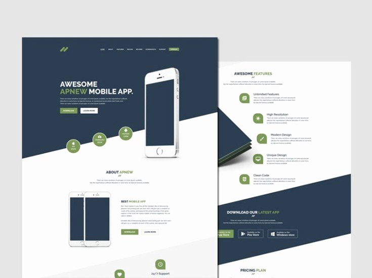 Apnew Mobile App Landing Page Template Free Download