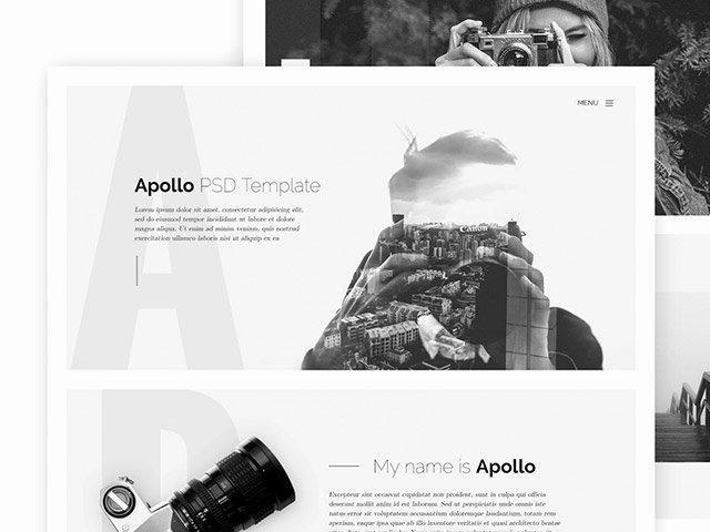Apollo E Page HTML Template for Photographers Freebiesbug