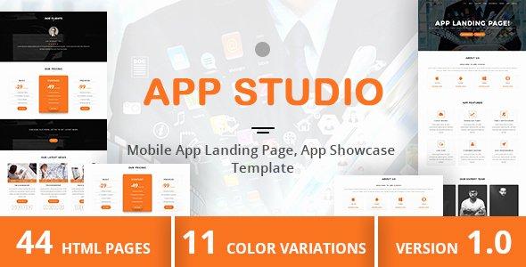 App Studio – Mobile App Landing Page App Showcase