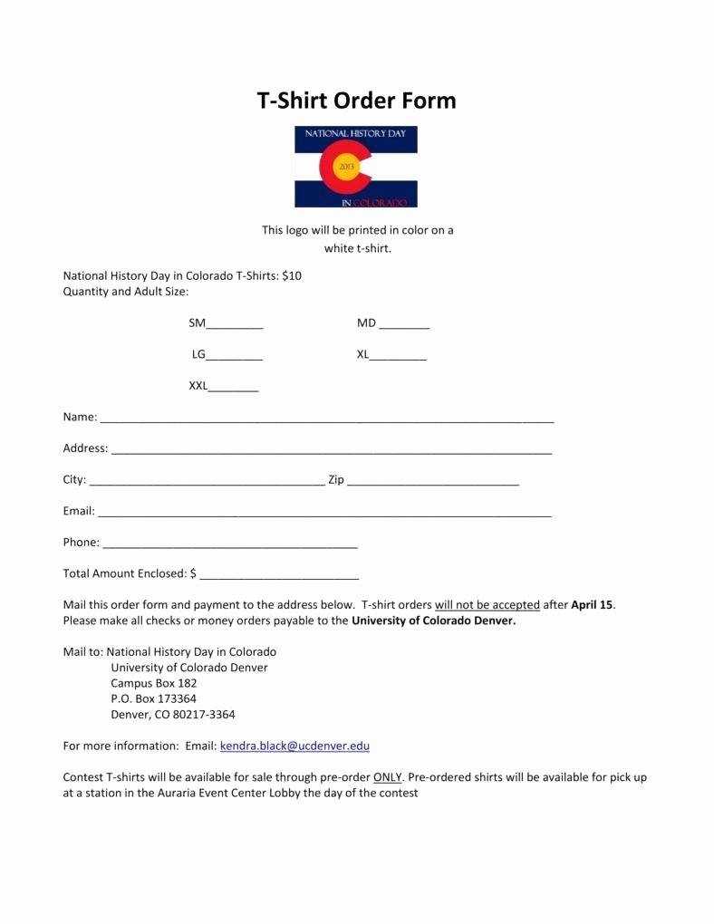 Appealing Sample order form for T Shirts