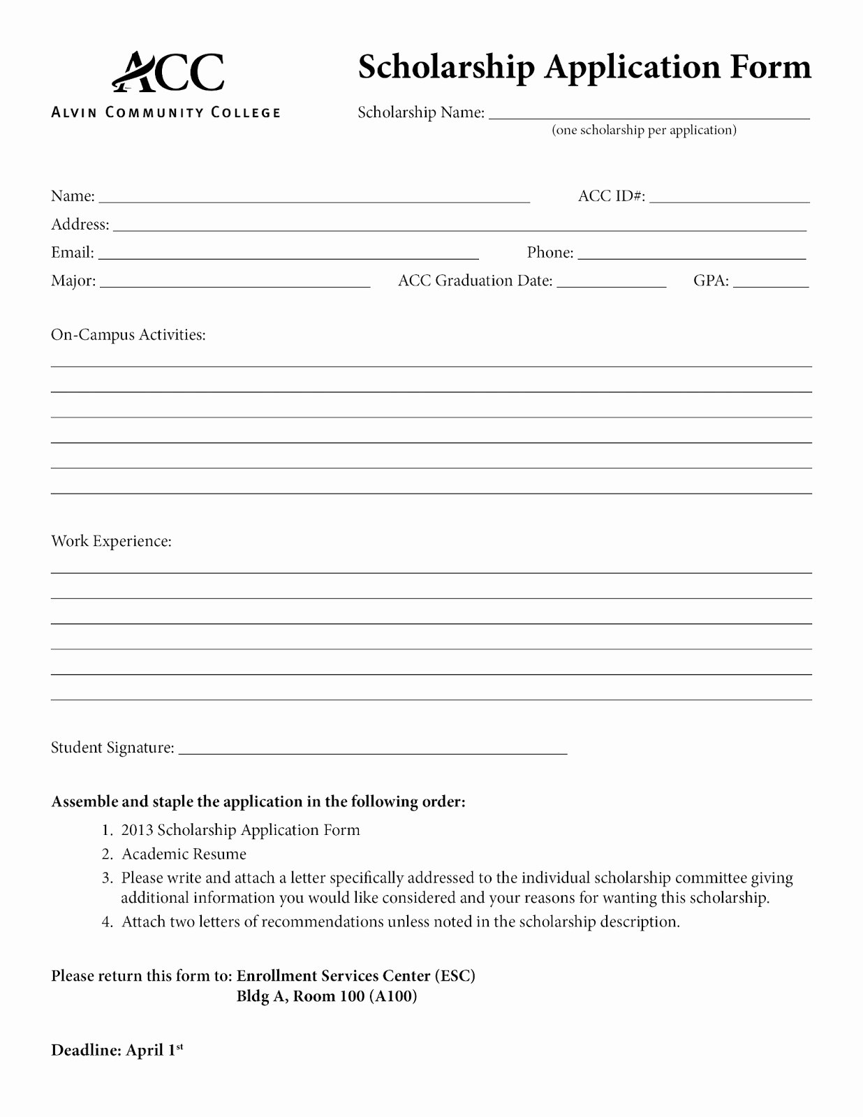 Application form Basic Application form Template
