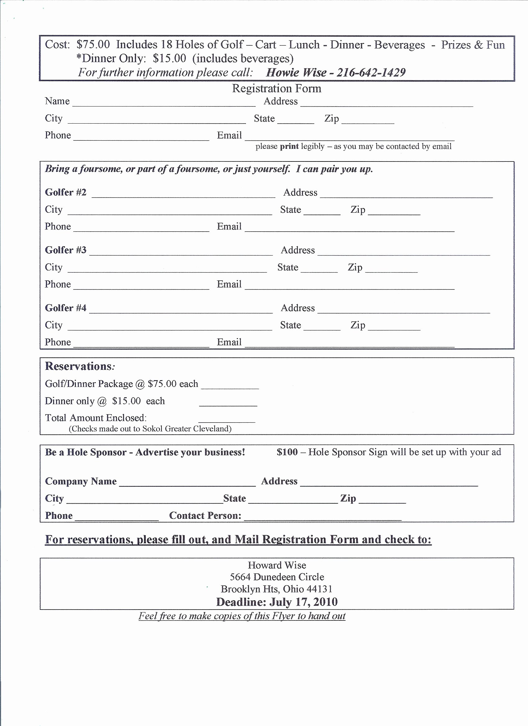 Application form event Registration form Template Printable