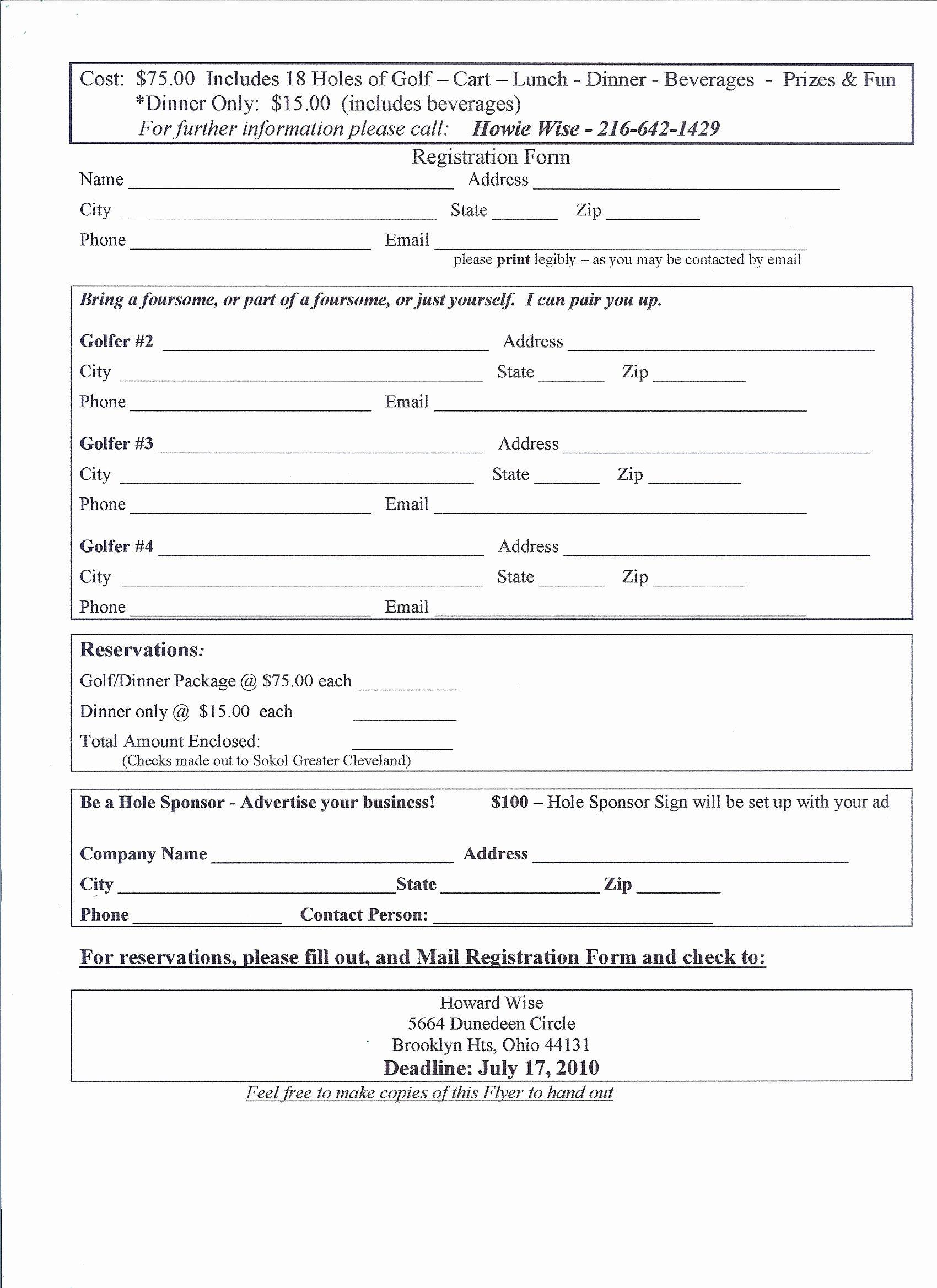 Application form event Registration form Template Printable