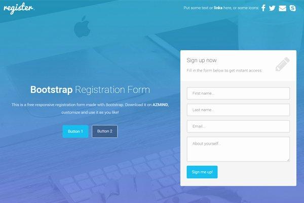 Application form Registration form Template Bootstrap