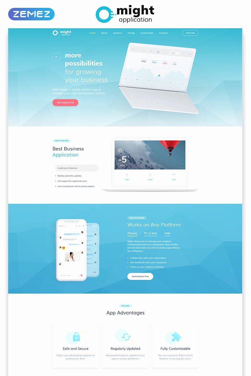 Application Landing Page HTML Template