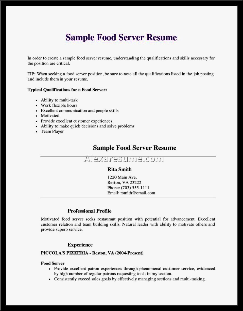 Application Letter for Waitress with No Experience