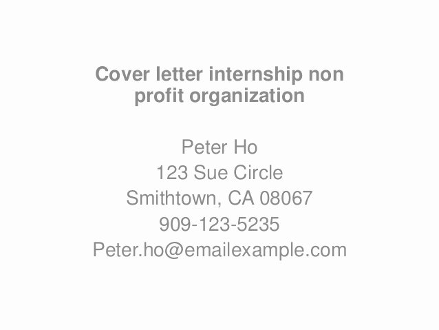 Application Letter Sample Non Profit Cover Letter Sample