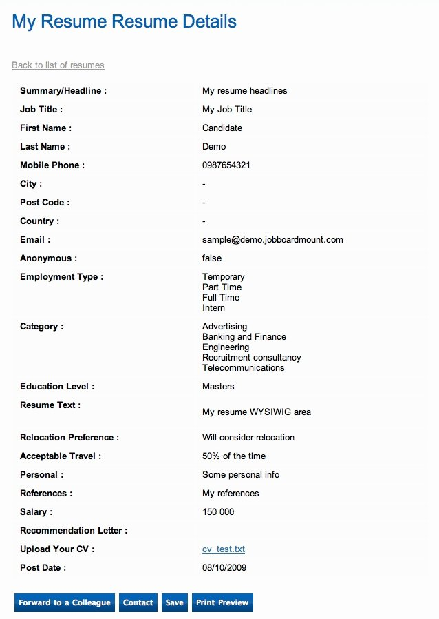 Application Resume