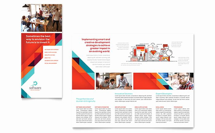Application software Developer Tri Fold Brochure Template