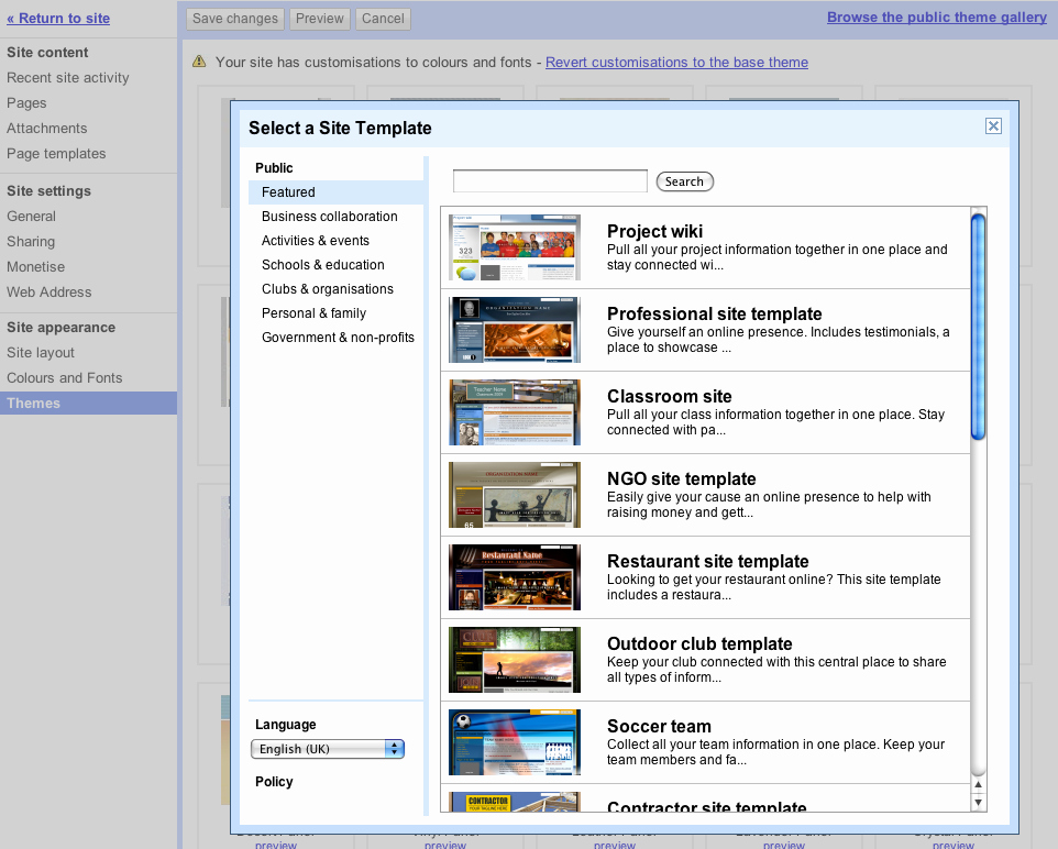 Apply Template themes to Existing Sites In Google Sites