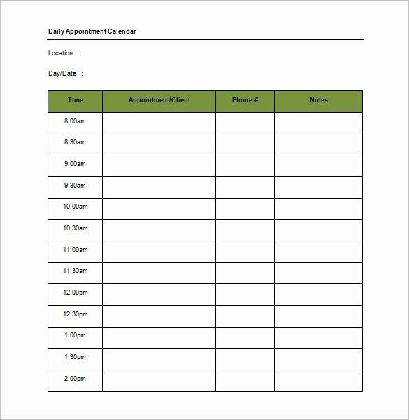 appointment calendar template