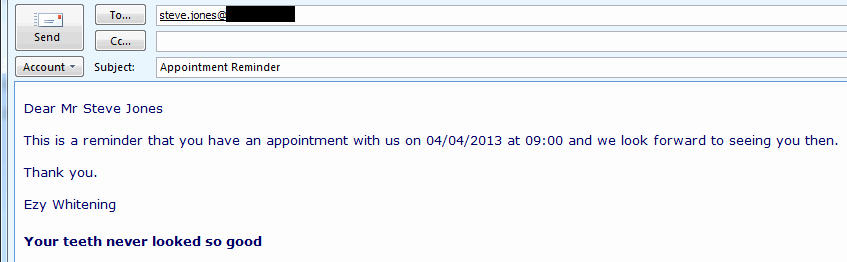 Appointment Reminder Email software Appointment