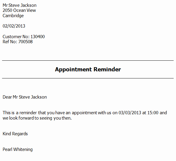 Appointment Reminder Letter software Appointment