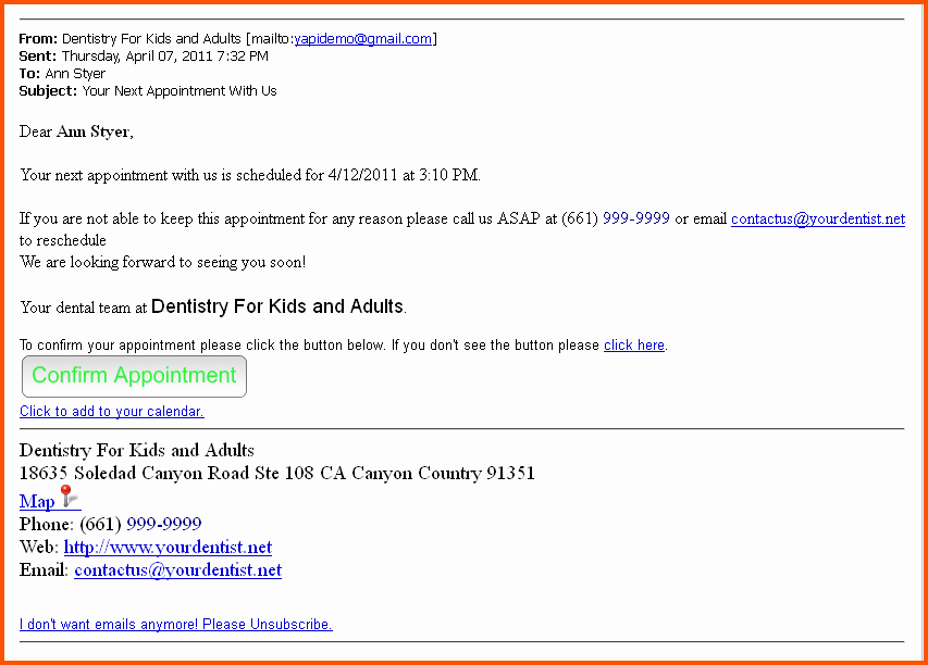 Appointment Reminder Template Templates Collections