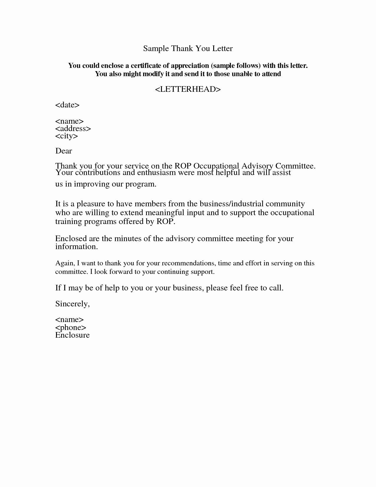 Appreciation Letter Sample Template
