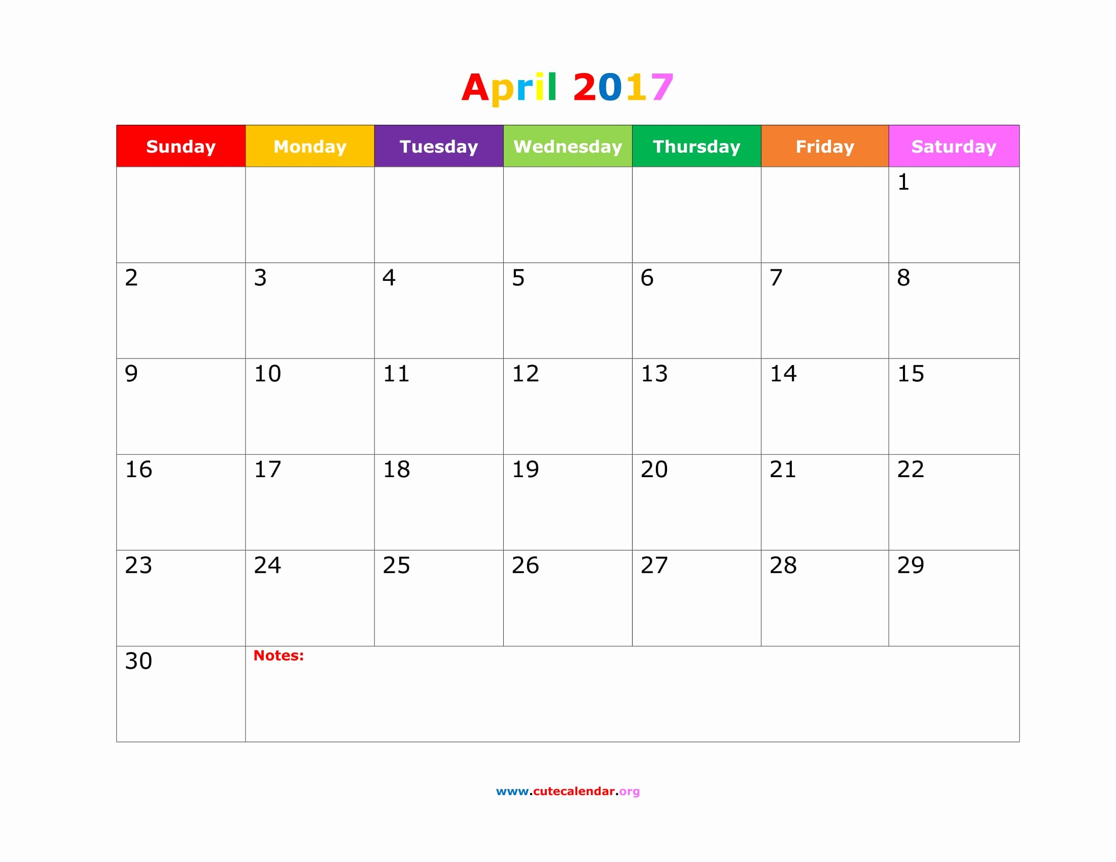 April 2017 Calendar Word