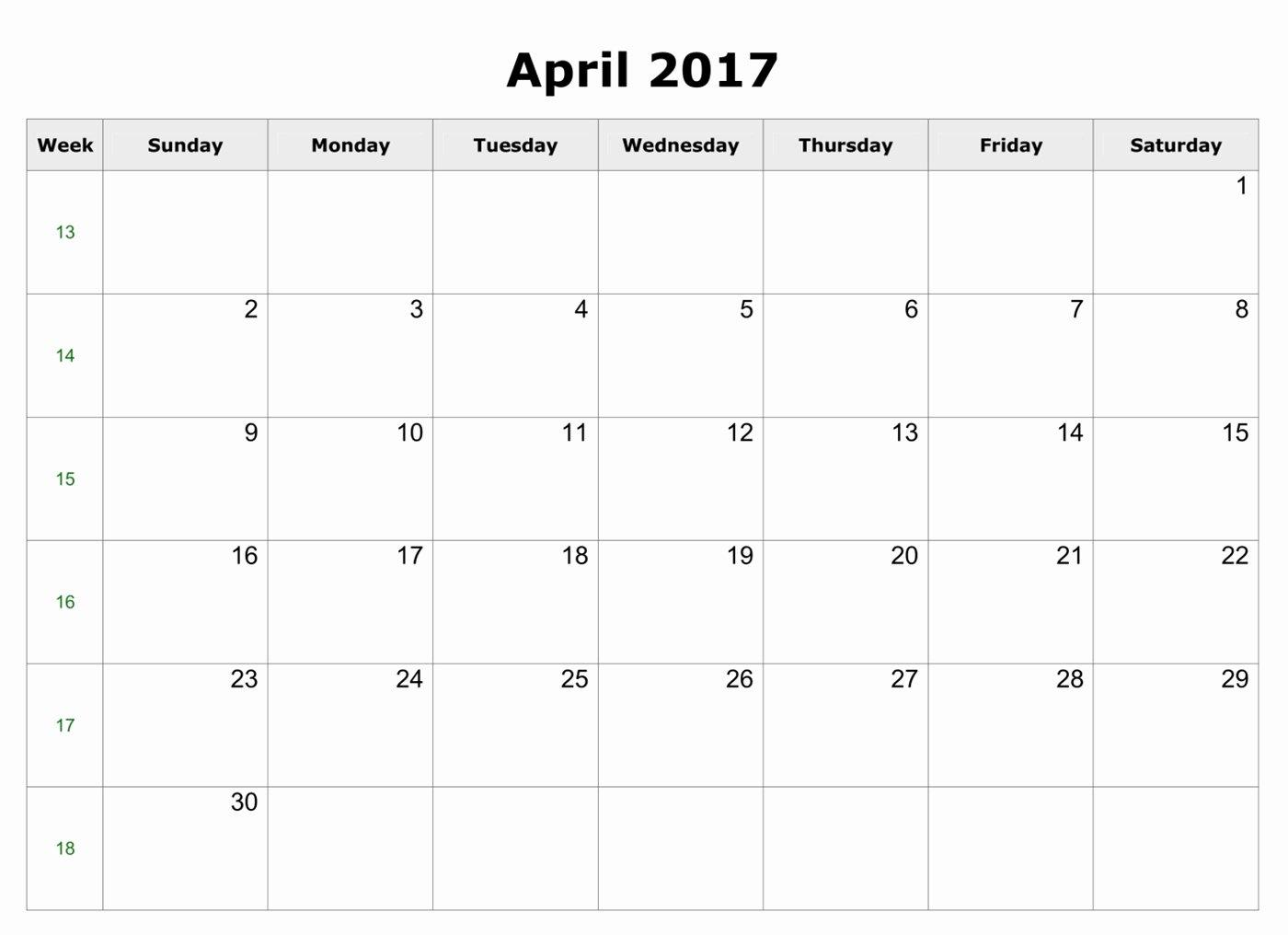 april 2017 excel calendar