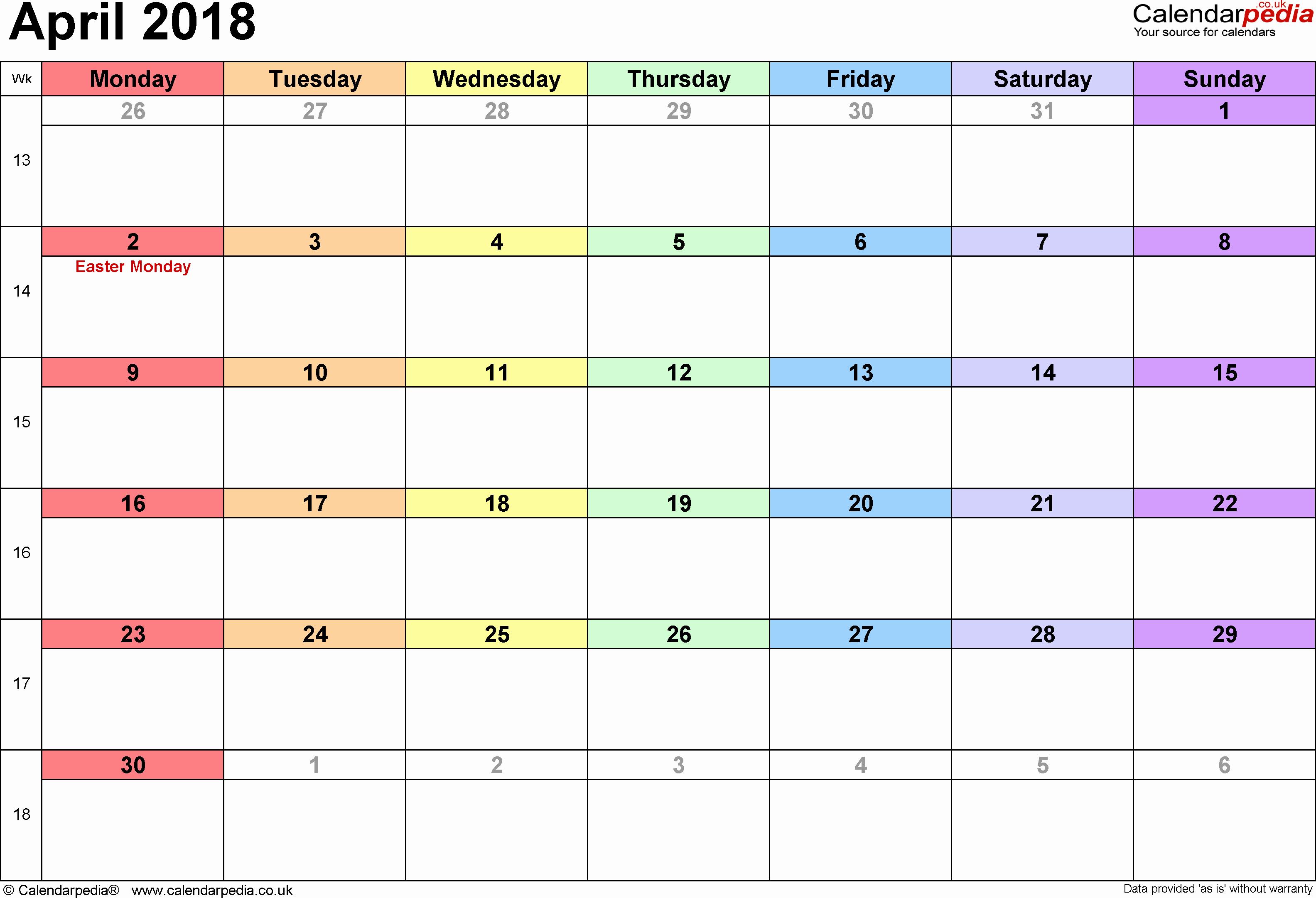April 2018 Calendar Word