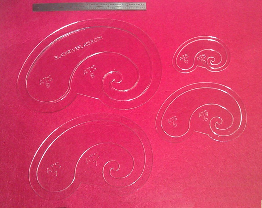Arc & Curve 8 Piece Template Set for Leather Craft Larger