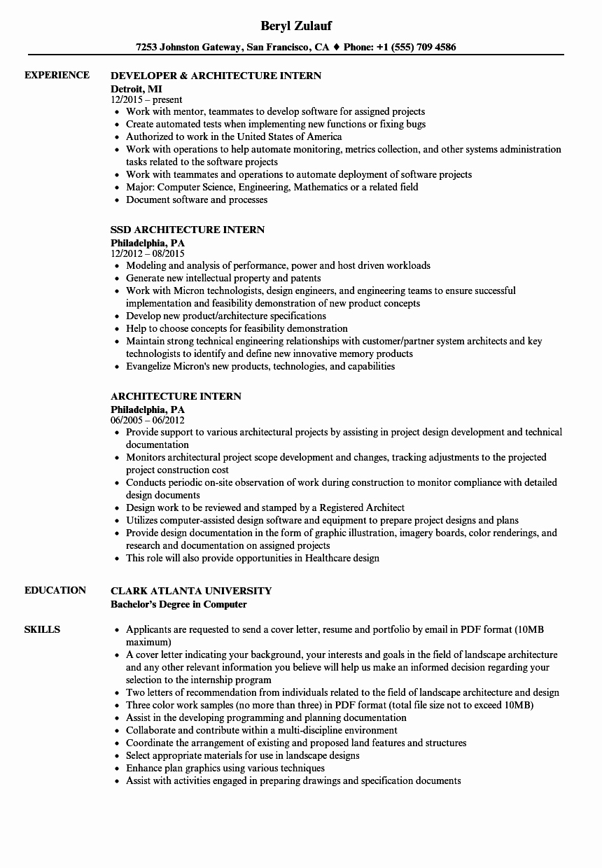 Architecture Intern Resume Samples