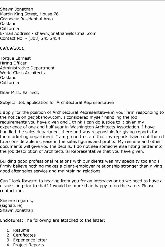 Architecture Internship Application Cover Letter