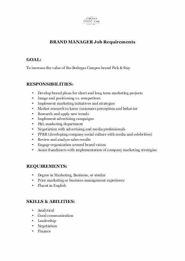 Area Supervisor Job Description Shift Manager Resume