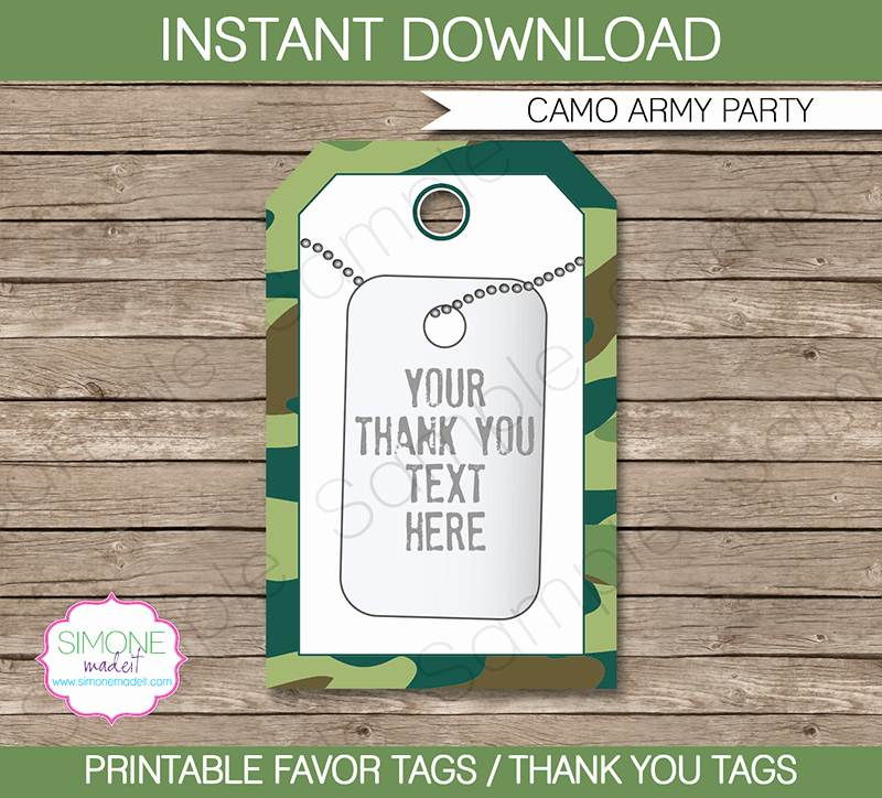 Army Camo Party Favor Tags