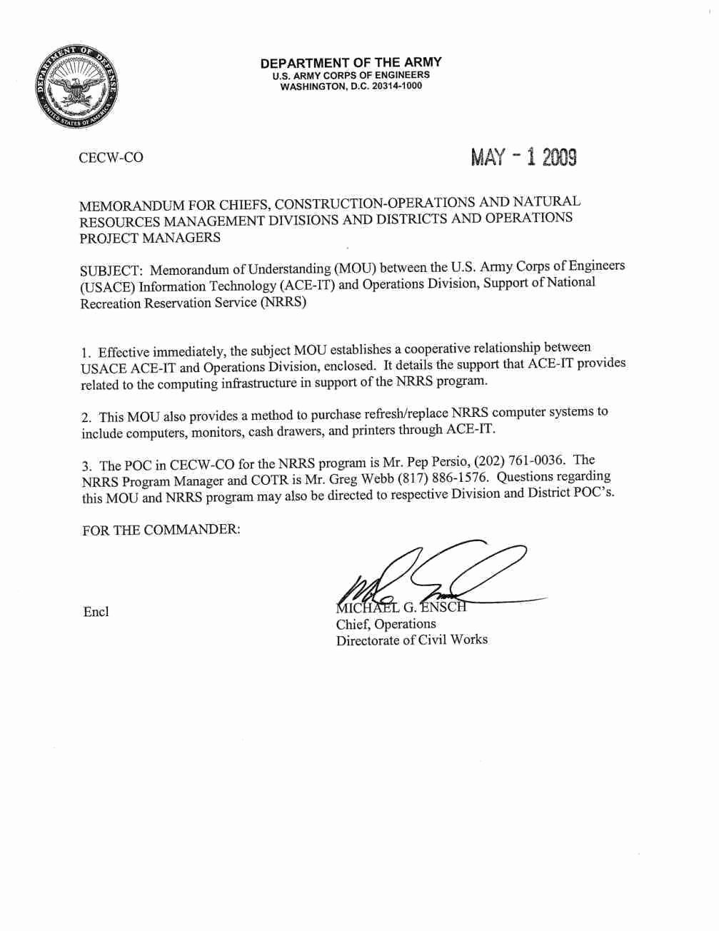 Army Memo for Record Doc