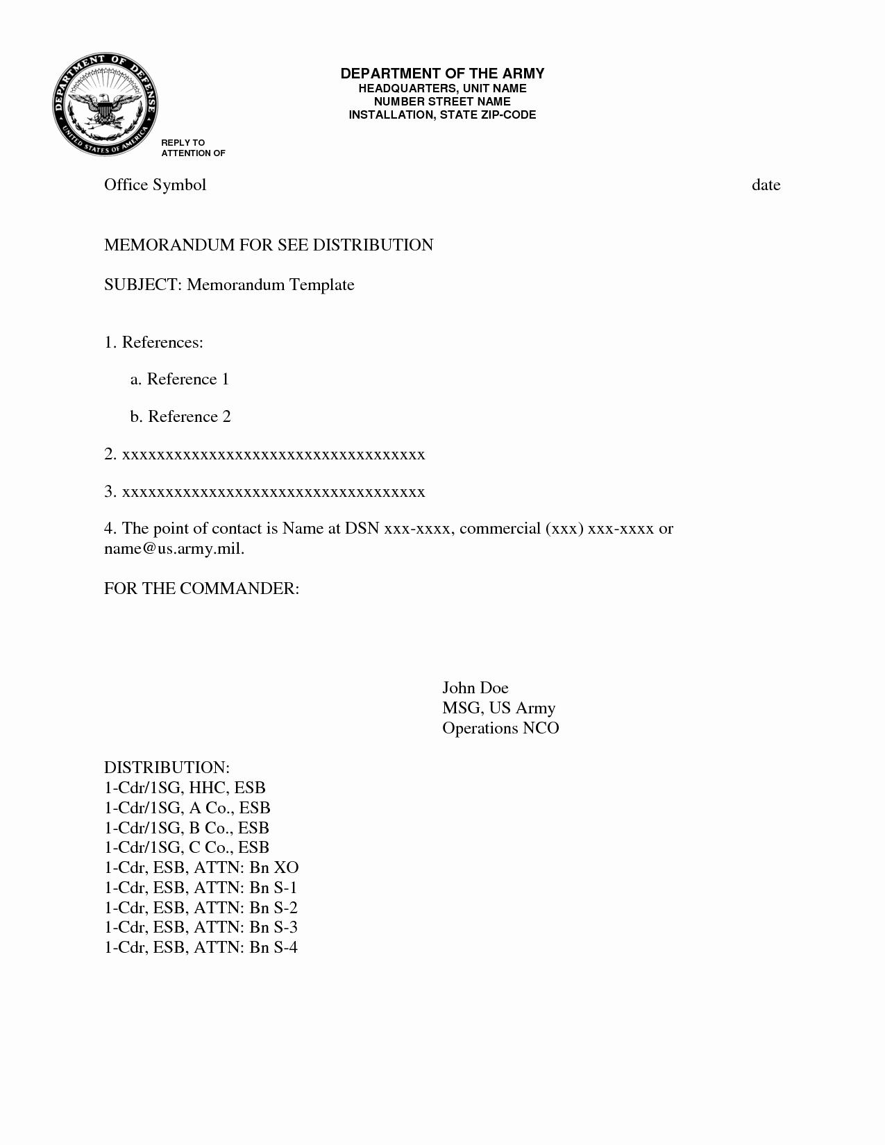 Army Memorandum Template