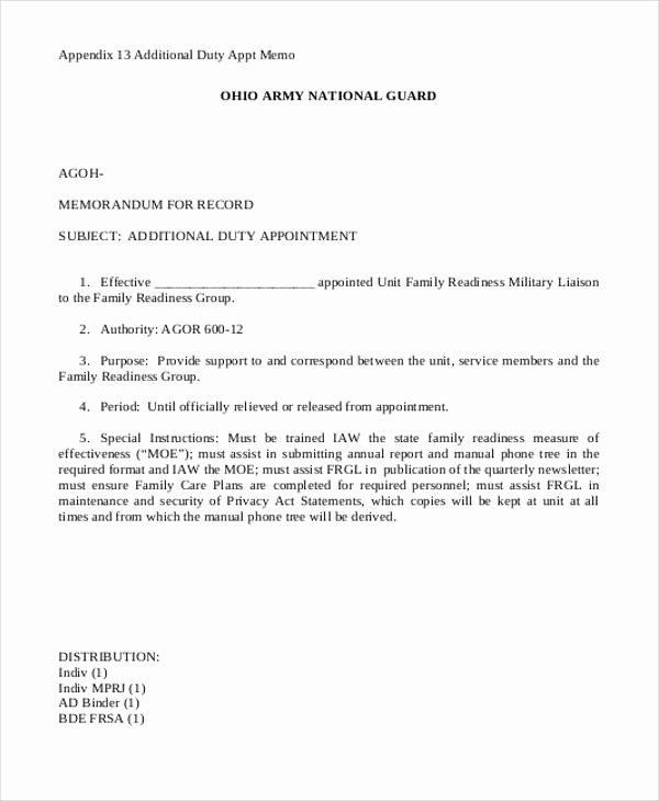 Army Memorandum Templates