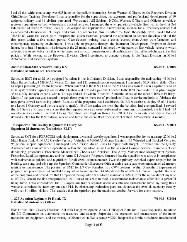 Army Warrant Ficer Resume Examples Warrant Officer